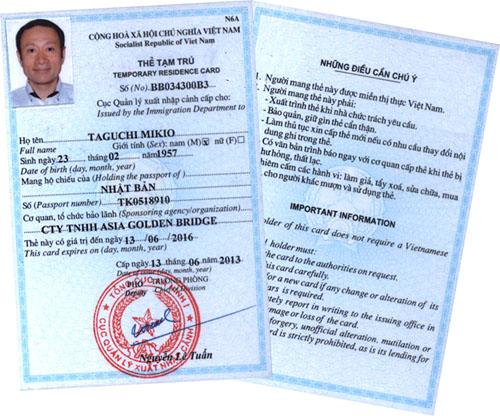 Cấp thẻ tạm trú cho người nước ngoài