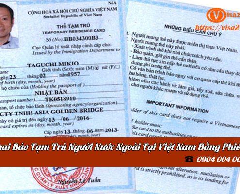 khai báo tạm trú cho người nước ngoài tại Việt Nam bằng phiếu