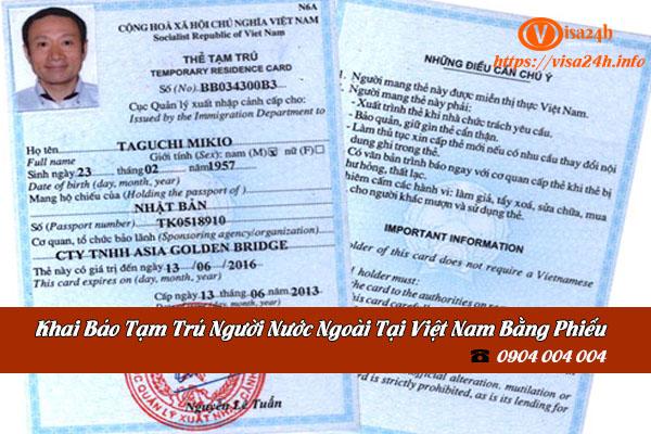 Khai báo tạm trú cho người nước ngoài tại Việt Nam bằng phiếu khai báo tạm trú
