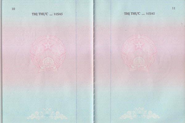 Trang dán visa trên Hộ chiếu Việt Nam