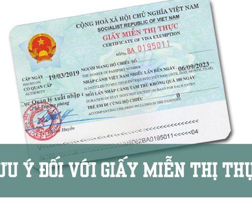 Lưu ý đối với giấy miễn thị thực