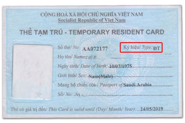 Thẻ tạm trú ĐT